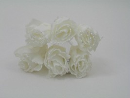 YFG163WW  6 x 4 CM FRILLY ROSE BUD WITH GLITTER IN ALL WHITE