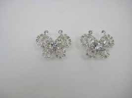 DIAMANTE SILVER BUTTERFLY BROOCHES X 2