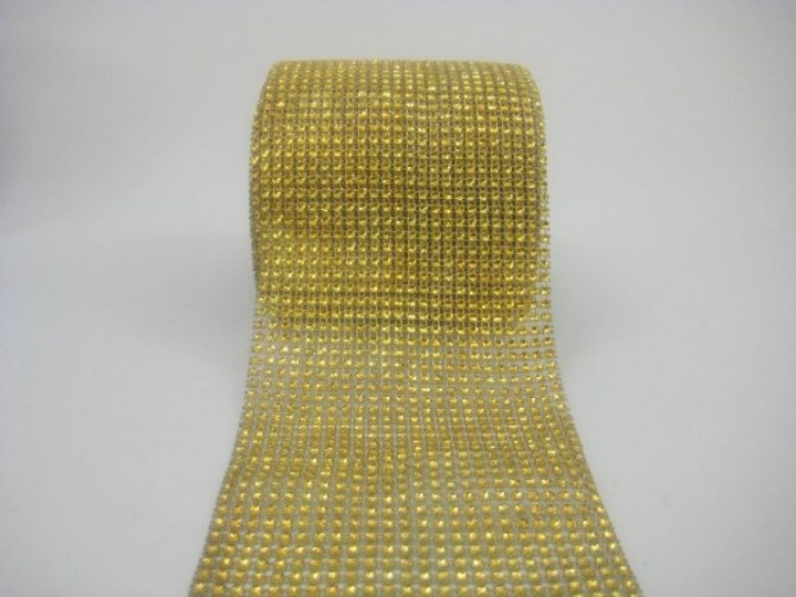 DM24G - DIAMANTE MESH IN GOLD 1 METRE X 24 ROWS (AVAILABLE TO PURCHASE BY THE METRE)