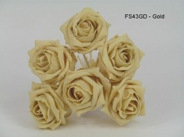 FS43GD  COTTAGE ROSES IN GOLD COLOURFAST FOAM