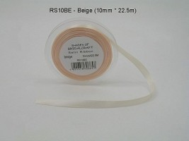 RS10BE  10 MM X 22.5 METRES SATIN RIBBON IN BEIGE- IF QUANTITY IS MORE THAN 10 PAY 85P A ROLL
