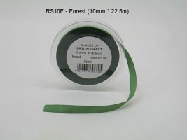 RS10F  10 MM X 22.5 METRES SATIN RIBBON IN FOREST GREEN- IF QUANTITY IS MORE THAN 10 ROLLS PAY 85P A ROLL