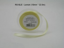 RS10LE  10 MM X 22.5 METRES SATIN RIBBON IN LEMON- IF QUANTITY IS MORE THAN 10 PAY 85P A ROLL