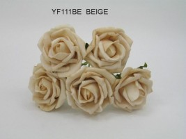 YF111BE OPEN ROSE IN BEIGE COLOURFAST FOAM-BUY 36 BUNCHES PAY 90P A BUNCH