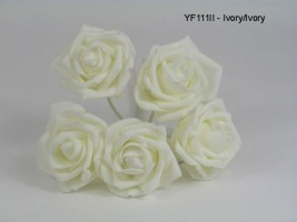 YF111II OPEN ROSES IN ALL IVORY COLOURFASTFOAM- BUY 60 BUNCHES PAY 90P A BUNCH