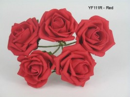 YF111R  OPEN ROSES IN RED COLOURFAST FOAM- BUY 36 BUNCHES PAY 90P A BUNCH