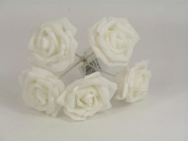 YF111WW  OPEN ROSES IN ALL WHITE COLOURFAST FOAM