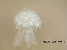YF151WW  Medium Shimmer Sparkle Posy in All White