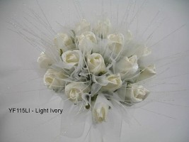 YF115LI  Medium Shimmer Sparkle Posy in Light Ivory-Special offer
