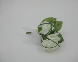 WHITE DOUBLE BUTTONHOLE/CORSAGE WITH CRYSTAL BALLS