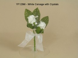 DOUBLE ROSE BUTTONHOLE/CORSAGE IN WHITE WITH CRYSTALS