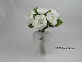 SMALL PEONY ROSE POSY IN WHITE COLOURFAST FOAM