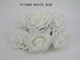 YF139W - OPEN ROSE IN WHITE COLOURFAST FOAM