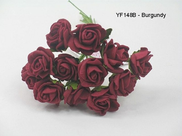 YF148B MINI TEA ROSE IN BURGANDY