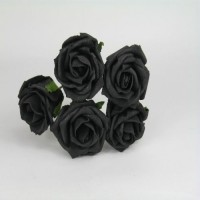 YF149BL 5 X 5 CM OPEN ROSE IN BLACK COLOURFAST FOAM - ORDER 36 BUNCHES AND PAY 85P A BUNCH