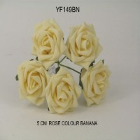 YF149BN  5 X 5 CM OPEN ROSE BANANA COLOURFAST FOAM - BUY 36 BUNCHES PAY 35P A BUNCH