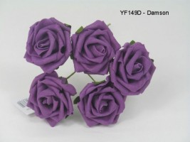 YF149D OPEN  ROSE BUNCH IN DAMSON COLOURFAST FOAM- ORDER 36 BUNCHES PAY 85P A BUNCH