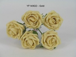 YF149GD 5 X 5 CM OPEN ROSE IN GOLD COLOURFAST FOAM- BUY 36 BUNCHES PAY 85P A BUNCH