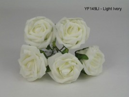 YF149LI 5 X 5 CM OPEN ROSE IN IVORY COLOURFAST FOAM- BUY 60 BUNCHES PAY ONLY 90P A BUNCH
