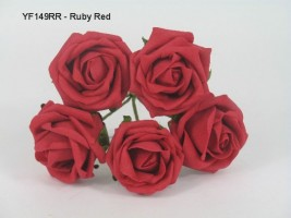 YF149RR -OPEN ROSE IN RUBY RED COLOURFAST FOAM- BUY 36 BUNCHES PAY ONLY 85P A BUNCH