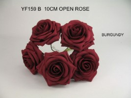 YF159B  OPEN ROSES IN BURGANDY COLOURFAST FOAM