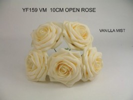 YF159VM  OPEN ROSE IN VANILLA MIST COLOURFAST FOAM