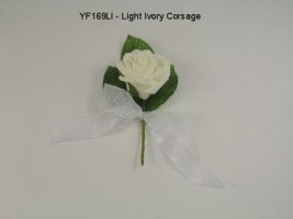 YF169LI  COTTAGE ROSE CORSAGE/BUTTONHOLE IN IVORY- BUY 24 PCS PAY ONLY 50P EACH