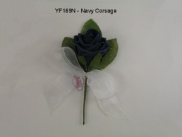 YF169N  COTTAGE ROSE BUTTONHOLE/CORSAGE IN NAVY COLOURFAST FOAM- BUY 24 PAY 50P EACH