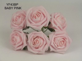 YF43BP QUALITY COTTAGE ROSE IN PRETTY BABY PINK COLOURFAST FOAM