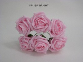 YF43BBP - QUALITY COTTAGE ROSE IN BRIGHT BABY PINK- BUY 60 BUNCHES PAY £1.15 A BUNCH