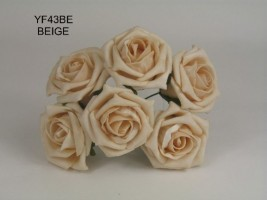 YF43BE -QUALITY  COTTAGE ROSE IN BEIGE COLOURFAST FOAM- BUY 60 BUNCHES PAY £1.15 A BUNCH