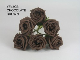 YF43CH - QUALITY COTTAGE ROSE IN CHOCOLATE COLOURFAST FOAM- BUY 60 BUNCHES AND PAY £1.15 A BUNCH