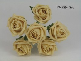 YF43GD  QUALITY COTTAGE ROSE IN GOLD COLOURFAST FOAM- BUY 60 BUNCHES AND PAY £1.15 A BUNCH