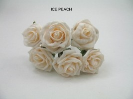 YF43IP- QUALITY  COTTAGE ROSE IN ICED PEACH IN COLOURFAST FOAM