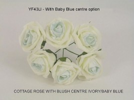 YFB43LIBB  6 x 6 CM IVORY COTTAGE ROSE WITH PRETTY BABY BLUE CENTRE IN COLOURFAST FOAM