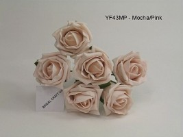 YF43MP QUALITY COTTAGE ROSE IN MOCHA PINK COLOURFAST FOAM- BUY 60 BUNCHES PAY £1.15 A BUNCH