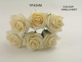 YF43VM  QUALITY COTTAGE ROSE IN VANILLA MIST COLOURFAST FOAM- BUY 60 BUNCHES AND PAY ONLY £1.15 A BUNCH