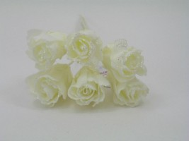 YFG163II  6 x 4 CM FRILLY ROSE BUD WITH GLITTER IN ALL IVORY