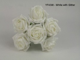 YFG43W COTTAGE ROSE IN WHITE WITH A GLITTER TOUCH