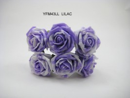 YFM43LL  6 x COTTAGE ROSE IN MARBLE EFFECT IN IVORY LILAC COLOURFAST FOAM