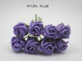 YF72PL  ROSEBUDS IN PLUM COLOURFAST FOAM BY BRIDALCRAFT 8 X 3 CM