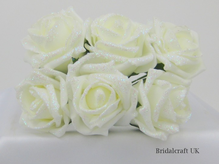 Ivory /& Peach Colourfast Foam Peony Bunch 6 Head x 9cm Artificial Flower