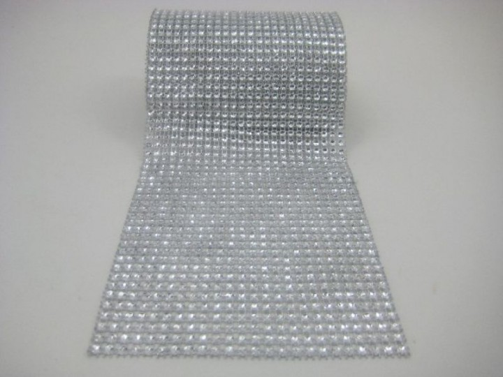 DM24S DIAMANTE MESH IN SILVER 1 METRE  24 ROWS DIAMANTE (AVAILABLE TO PURCHASE BY THE METRE)