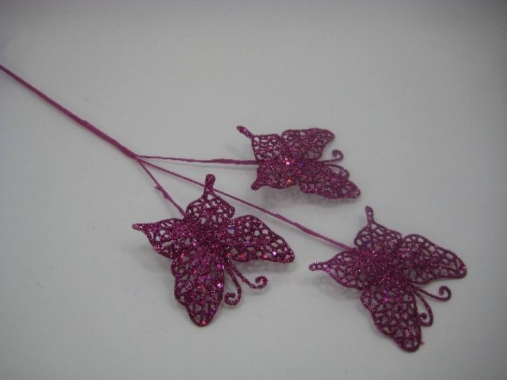BRANCH OF THREE GLITTER BUTTERFLIES ON A LONG STEM IN HOT PINK