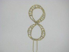 NUG8 DIAMANTE NUMBER 'EIGHT' CAKE TOPPER ON GOLD