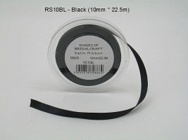 RS10BL  10 MM x 22.5 METRES SATIN RIBBON IN BLACK - IF QUANTITY IS MORE THAN 10 ROLLS PAY 85P A ROLL