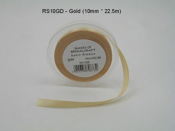 RS10GD  10 MM X 22.5 METRES GOLD SATIN RIBBON- IF QUANTITY IS MORE THAN 10 ROLLS PAY 85P A ROLL