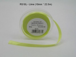 RS10L  10 MM X 22.5 METRES SATIN RIBBON IN LIME- IF QUANTITY IS MORE THAN 10 ROLLS PAY 85P A ROLL