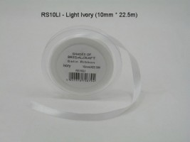 RS10LI  10 MM X 22.5 METRES SATIN RIBBON IN LIGHT IVORY- IF QUANTITY IS MORE THAN 10 PAY 85P A ROLL