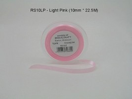 RS10LP  - 10 MM X 22.5 METRES SATIN RIBBON IN LIGHT PINK- IF QUANTITY IS MORE THAN 10 PAY 85P A ROLL